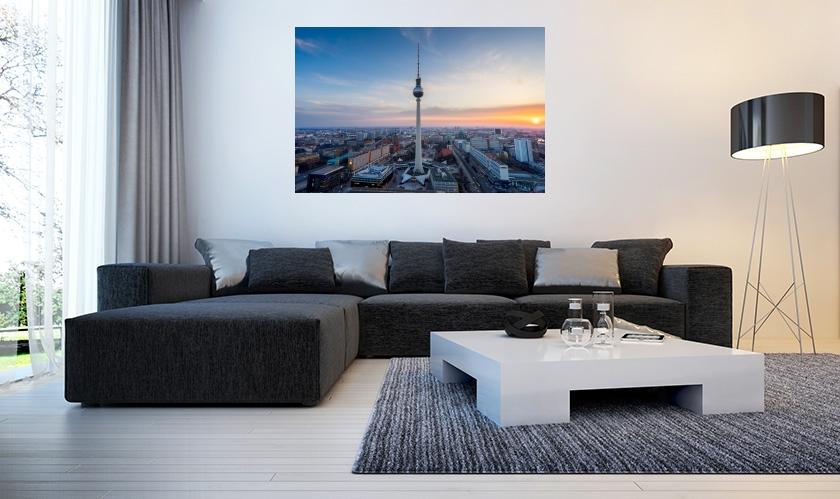 berlin alexanderplatz at sunset wandbild als leinwand galeriedruck forex oder alu dibond. Black Bedroom Furniture Sets. Home Design Ideas