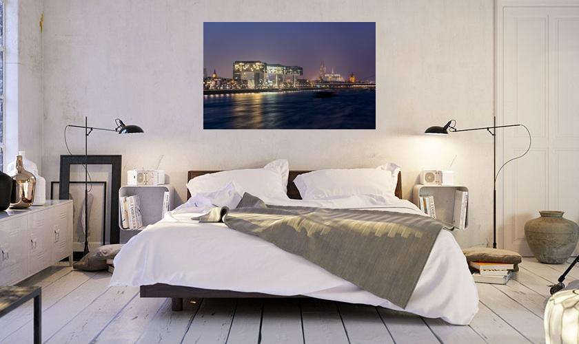 k ln kranh user im rheinauhafen bei nacht wandbild als leinwand galeriedruck forex oder alu. Black Bedroom Furniture Sets. Home Design Ideas